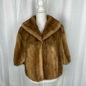 Vintage Mink Stole With Collar and Pockets